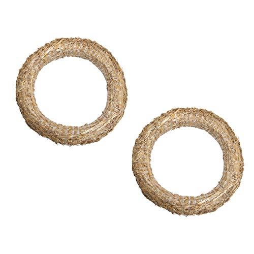 DekoPrinz® Strohkränze, 2 Stück | ø 30 cm Durchmesser | 5 cm Stärke | Strohrömer, Türkranz, Deko-Kranz, Kranz-Rohling, Strohring