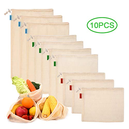 Philorn 10 Reutilizable Producir Bolsas 100% Algodón Bolsas de la Compra Reutilizables Bolsas de Malla para Fruta Vegetal Lavable Totalizador de compras