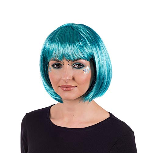 Adults Blue Glitter Wig Womens Short Bob Festival Party Hair Costume Accessory