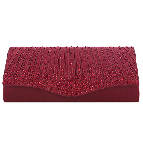 Crystal Evening Clutch Purses for Women Flap Wedding Bridal Party Handbags Small Crossbody Bag (Red)