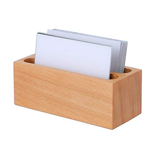 YOSCO Visitenkartenhalter aus Holz, professioneller Kartenständer für Schreibtisch Schreibtisch mit Doppel-Fach Holz Namenskarten-Ständer für Tische Organizer Indexkarten-Abheften