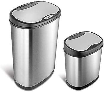 Nine Stars Combo Sensor Stainless Steel Trash Can (13.2 Gal / 3.2 Gal)