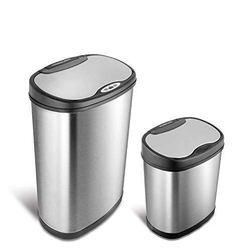 NINESTARS CB-DZT-50-13/12-13 Automatic Touchless Infrared Motion Sensor Trash Can Combo Set, 13 Gal...