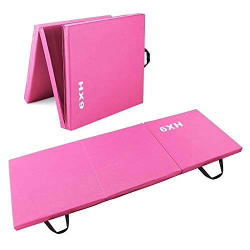 HX9 Tri-Fold Exercise Gymnastic Mat, 50MM Thick Folding Matt with Carrying...