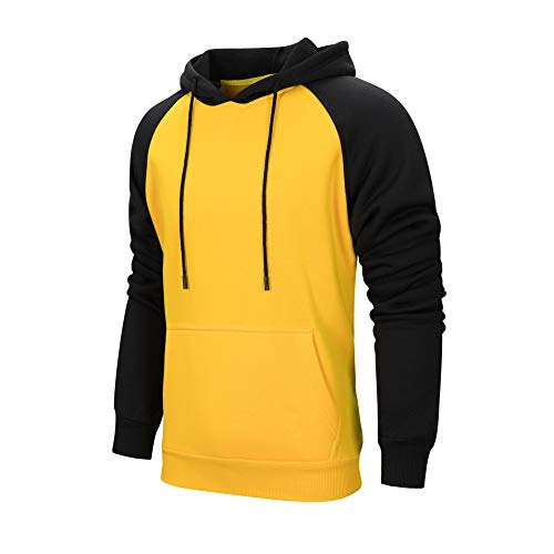 LBL Mens Contrast Hoodies Comfort Casual Pullover Sports Outwear Hooded Sweatshirts with Kanga Pocket Yellow L #39