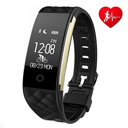 Ginsy, orologio fitness tracker con cardiofrequenzimetro Bluetooth, pedometro, controllo del sonno, smart watch per vari smartphone, Black