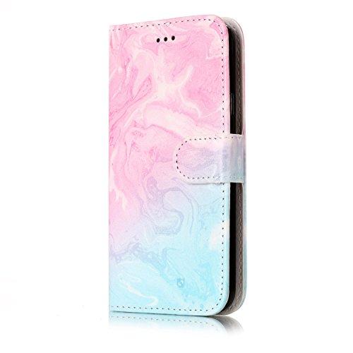 ISAKEN Kompatibel mit Galaxy S5 Hülle, PU Leder Brieftasche Ledertasche Handyhülle Tasche Case Schutzhülle Hülle Etui mit Standfunktion Karte Halter für Samsung Galaxy S5 Neo - Grün Pink