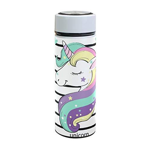 ISAOA - Botella de Agua de Acero Inoxidable con diseño de Unicornio y Hojas, Doble Pared aislada al vacío, a Prueba de Fugas, para Deportes al Aire Libre