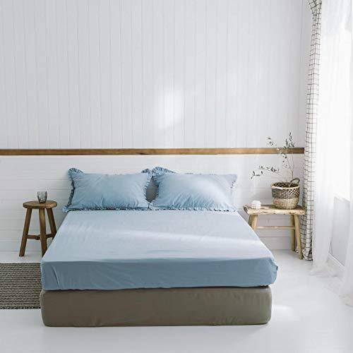 IKITOBI Sábanas bajeras dobles lisas teñidas y fáciles de cuidar, cama de lujo de 1,2 m con 180 × 230 cm (sábana individual)