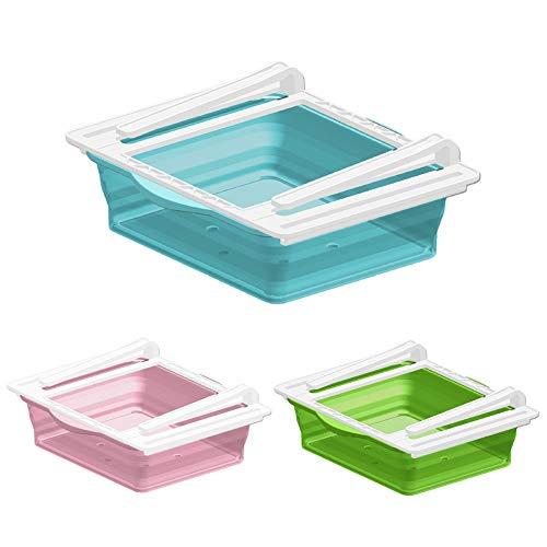 Caja de almacenamiento para nevera, organizador para cajones colgantes de nevera, transparente plegable, caja de almacenamiento de cocina (azul)