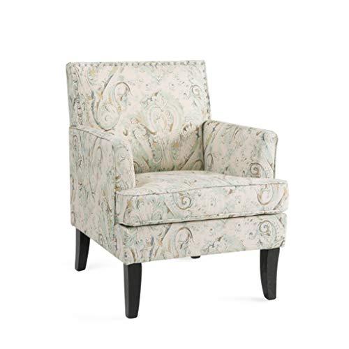 Sessel Wohnzimmer Stuhl Kleiner Sessel Holz Ohrensessel Einfach zu Installierender Samt Sessel mit Silberner Nagel Bequem Armchair fur Schlafzimmer Garten und Wohnzimmer Relaxsessel Print