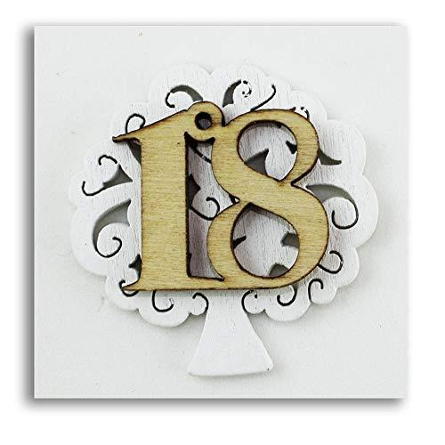 DLM-27588 (Kit 12 Pezzi) Calamita Magnete Albero della Vita 18 Anni Diciottesimo Compleanno in Legno Segnaposto Confettata Pensierino bomboniera