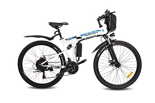 VARUN E-Bike Klappbar, Damen Herren 26 Zoll Elektro Mountainbike mit 250W(350WH) Motor, Wechselbarer 36 V / 8 Ah Akku,Shimano 21-Gänge Faltbar Elektrofahrrad für Pendeln zur Arbeit und Outdoor Reisen