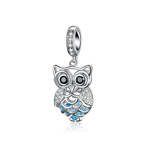 Ciondolo a forma di gufo, in argento Sterling 925, con cristalli, zirconia cubica, per braccialetti e gioielli fai da te