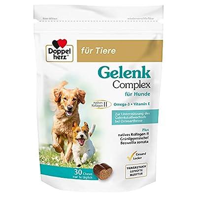 Doppelherz Gelenk Complex für Hunde Zur Unterstützung des Gelenkstoffwechsels bei Osteoarthrose 30 Chews braun