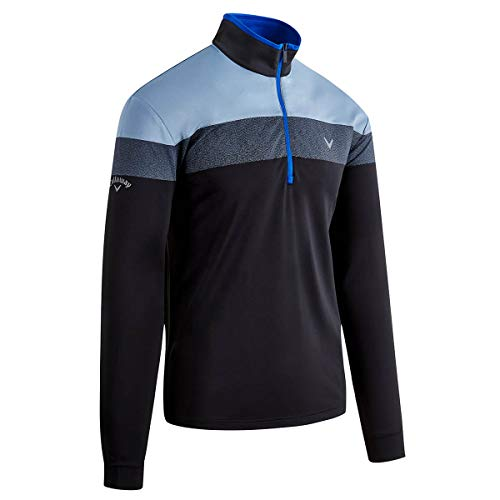 Callaway Golf Herren Digital Print 1/4 Zip Golf Sweater - Caviar/Surf The Web L