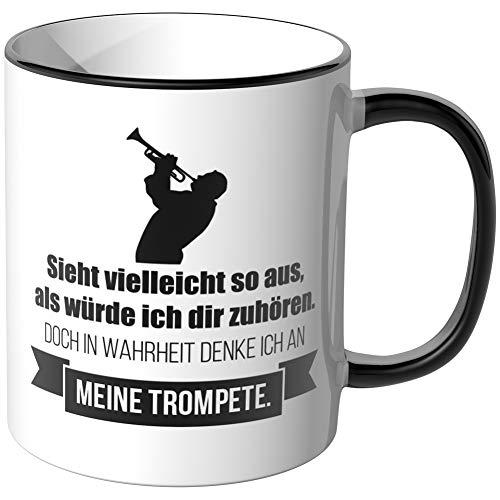 JUNIWORDS Tasse - Ich denke an Trompete - Wähle Motiv & Farbe - Schwarz