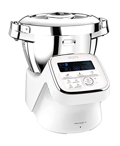 Krups HP60A1 iPrep & Cook XL Küchenmaschine mit Kochfunktion | 1550 Watt | 3 L Edelstahlschüssel | 10 Programme + manueller Modus | 6 Zubehöre | Bluetooth Funktion mit App und Sprachsteuerung | weiß