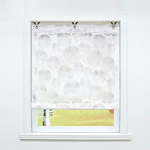 SCHOAL Raffrollo ohne Bohren Raffgardinen Ausbrenner Gardinen Transparent Ösenrollo Weiß Vorhänge mit Ösen 1 Stück BxH 80x130 cm Muster #1