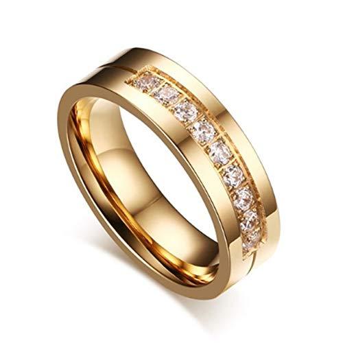 ERDING Unisex/Verlobungsring/Freundschaftsring/ZORCVENS 2019 New Gold-Farbe CZ Trauringe Liebhaber Zirkonia Edelstahl Romantische Ring Schmuck
