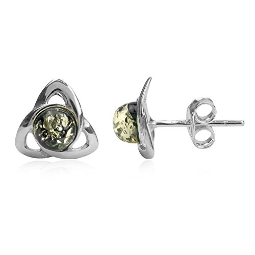 Green Amber Sterling Silver Celtic Small Stud Earrings