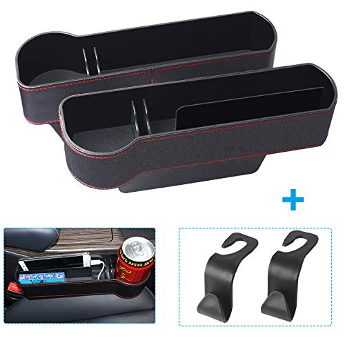 NDDI Car Seat Gap Filler, PU Leather Car Seat Organizer with Cup Holder, Seat Console Side Pocket for Cellphones, Keys, Cards, Wallets, Sunglasses (2 Pack)