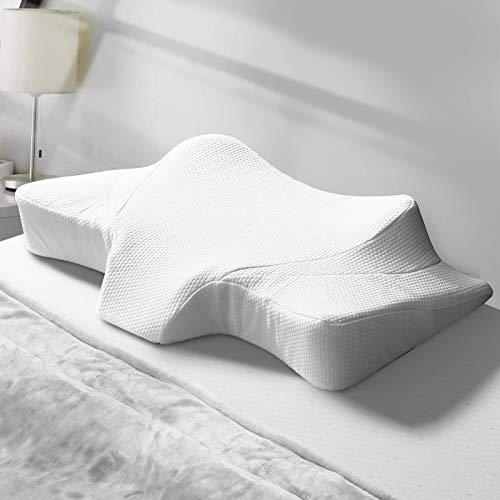 Cervical Pillow Memory Foam Pillow Orthopedic Sleeping Neck Pillows, Ergonomic Contour Pillow for Side Sleepers, Back and Stomach Sleepers (White-24 x 15 x 4.7 inch/Pillow case Included)