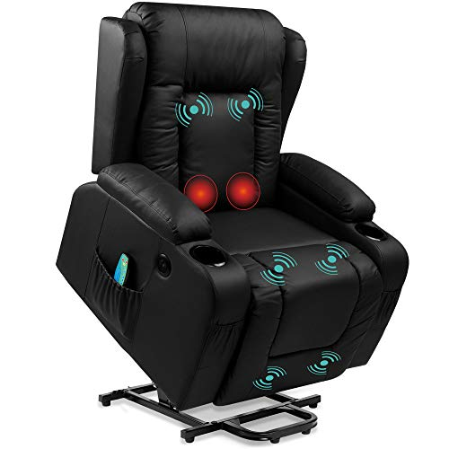 Best Choice Products Electric Power Lift Recliner Massage Chair, Adjustable Furniture for Back, Lumbar, Legs w/ 3 Positions, USB Port, Heat, Cupholders, Easy-to-Reach Side Button - Black