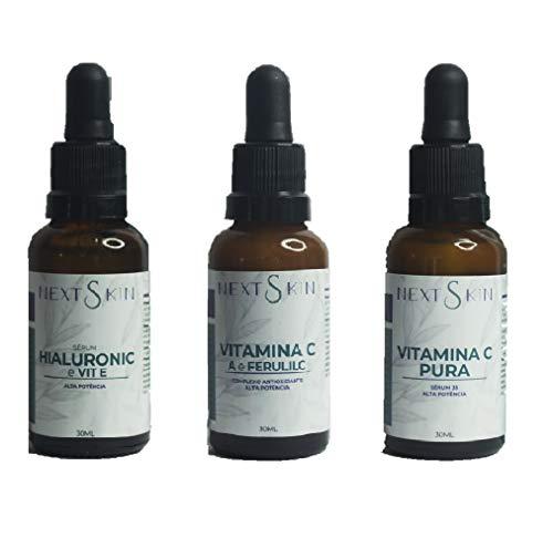 KIT Sérum NEXT SKIN Hialurônico com Vit E + Vitamina C Pura 35% + Complexo Antioxidante com Ferulic Alta Potencia
