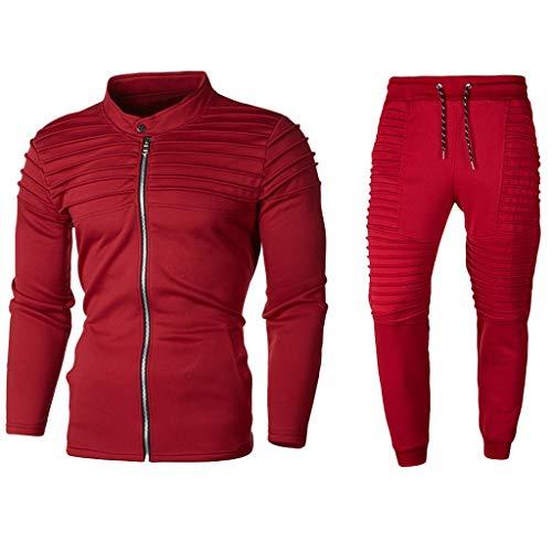 Beautyfine Men's Sweatshirt Tracksuit Suit Autumn Solid Zipper Sports Top Pants Sets Red