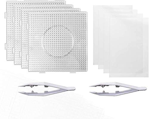 Auveach Perline a Fusione da 5 mm 4 pz Carta Stirare Quadrate in Plastica Trasparente 4 Pezzi Pegboards con 2 Pezzi Pinzette e Carta da Stiro per Bambini Fai da Te Perline Artigianali