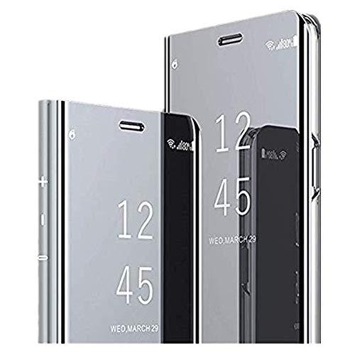 Funda para Samsung Galaxy J7 funda espejo Clear View Window Flip Case Slim Espejo Caso Soporte Flip Folio Funda Full Body Protection antigolpes Funda Fit Samsung Galaxy J7 plata Talla única