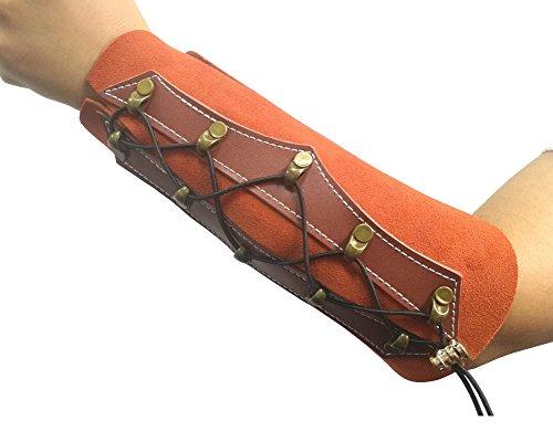 Nachvorn Archery Arm Guard, Unisex Leather Gauntlet Wristband Wide Bracer Arm Armor Cuff Suede