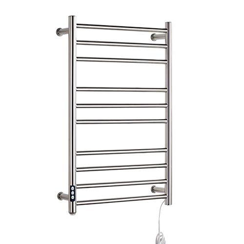 Inicio Equipos Calentadores de toallas para baño Acero inoxidable pulido montado en la pared Cableado y enchufe 10 barras Temporizador Riel calefactor para toallas Perchero para toallas caliente 30