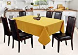 Airwill 100% Cotton Solid Pattern 6 Seater Rectangle Table Cover Sized, 56x71 inches (Yellow, Pack of 1)