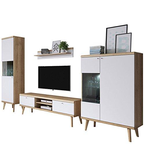 Mirjan24  Wohnzimmer Primo II, Elegantes Wohnzimmer-Set im skandinavischen Stil, TV Lowboard, Zwei Vitrine, Wandregal, Komplett (Ohne Beleuchtung, Riviera Eiche/Weiß)