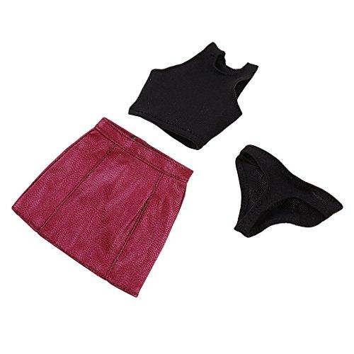 Fenteer 1/6 Escala Vestido de Tela + Minifalda de Cuero de Imitación para 12 PulgadasTTL Enterbay Mujer CY CG Girl Figuras de Acción - Rojo