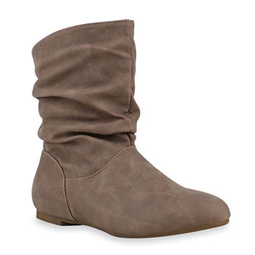 Stiefeletten Damen Schlupfstiefel Schnallen Stiefel Flach Boots Nieten Leder-Optik Schlupfstiefeletten Schuhe 131946 Creme 36 Flandell