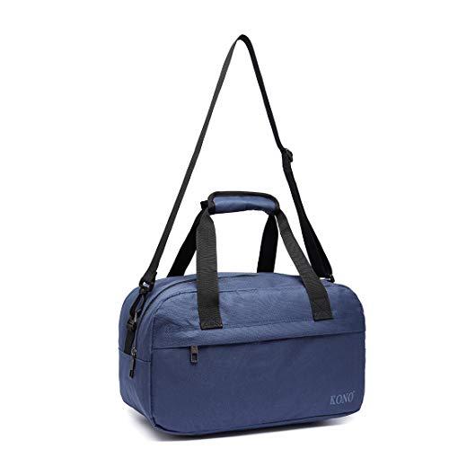 Kono 35x20x20 Holdall Cabin Luggage Travel Bag Under Seat Flight Bag with Shoulder Strap 14L (Navy)