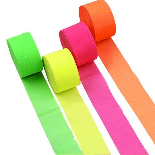 NICROLANDEE Blacklight - 4 rollos de papel crepé fluorescente de neón para fiestas de luz negra, cumpleaños, bodas, baby shower, baile, fiesta, fotografía
