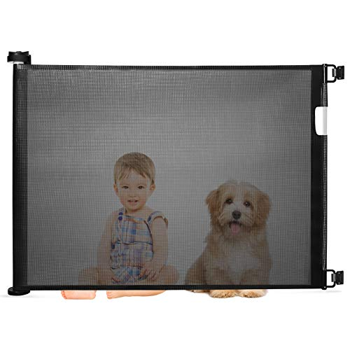 Baby Gates Retractable, Abaook Safety Baby and Pet Mesh Dog Gate, Extra Wide Safety Retractable Door for Babies Doorways (31' Tall, Extends up to 51'' Wide) Indoor/Outdoor, Black