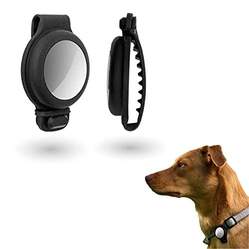SIROM Haustier Silikonschutzhülle für Apple AirTag, Silikonhülle für Hundehalsband/Rucksack/Tasche, GPS Finder für Haustiere/Hunde/Katzen, Heimtier-Tracker, schmutzabweisende Schutzhülle schwarz