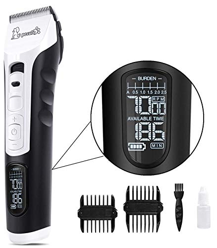Pecute Dog Clippers 5 Speeds LCD Display,50 DB Ultra-Quiet Pet...