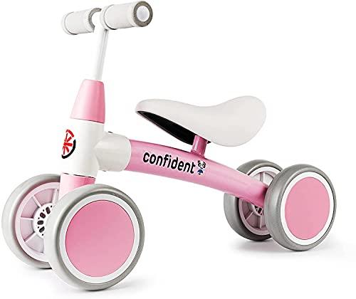 XIAPIA Bicicletta Senza Pedali Bici per Bambini 1-2 Anni Tricicli Neonati Corridori Giocattoli Regali per Bambini Bicicletta Equilibrio (ROSA)