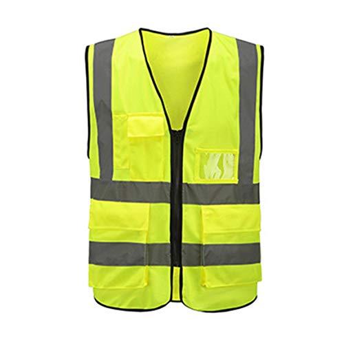 Chaleco reflectante multibolsillos Chaleco de tráfico para montar Seguridad Ferrocarril Mineros de carbón Chaleco uniforme Transpirable Chaleco reflectante-Verde fluorescente