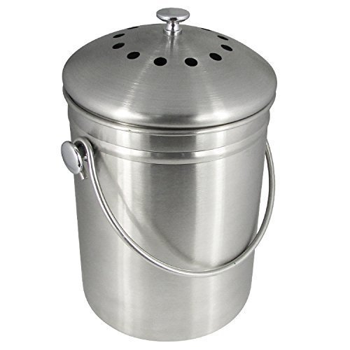 Learn More About YAMO Stainless Steel Indoor Compost Bin 1.3 Gallon - Includes Charcoal Filter
