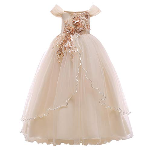 Kids Girl Off Shoulder Embroidery Flower Tulle Lace Long A Line Pageant Dress Wedding Birthday Party Floor Length First Communion Formal Princess Prom Holiday Dance Maxi Ball Gown Champagne 7-8