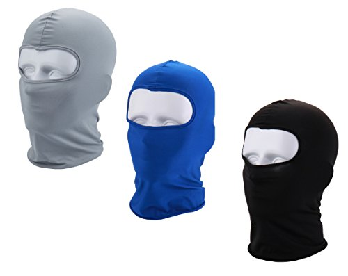 Apanphy® 3Pcs Máscara Pasamontañas Protector para Ciclismo Esqui Deporte,Balaclava Moto (Negro/Azul/Gris)