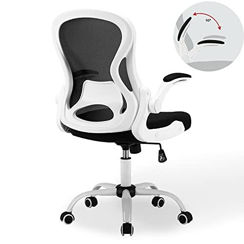 BERLMAN Bürostuhl mit klappbare Armlehnen, Schreibtischstuhl aus Netzstoff, Höheverstellbarer...