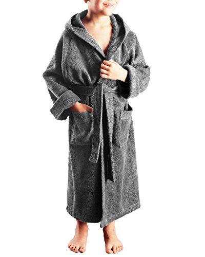 Arus Kinder-Bademantel mit Kapuze für Jungen und Mädchen, 100% Baumwolle Frottee, lang, Grau, 140